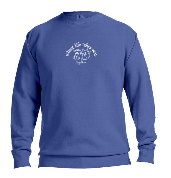 "WLTY Cat and Dog ""Together"" Adult Crewneck Sweatshirt"