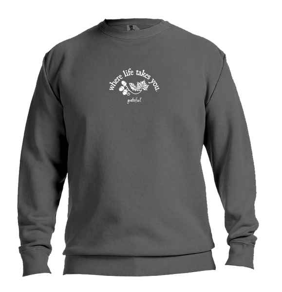 "WLTY Leaves and Acorns ""Grateful"" Adult Crewneck Sweatshirt"