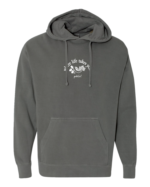 "WLTY Leaves and Acorns ""Grateful"" Adult Hooded Sweatshirt"