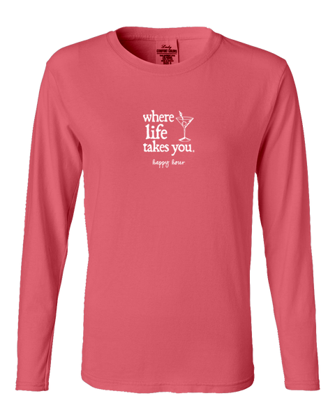 "WLTY Martini ""Happy Hour"" Ladies Long Sleeve"