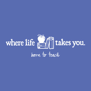 "WLTY Apple and Books ""Born to Teach"" Ladies V-Neck T-Shirt"
