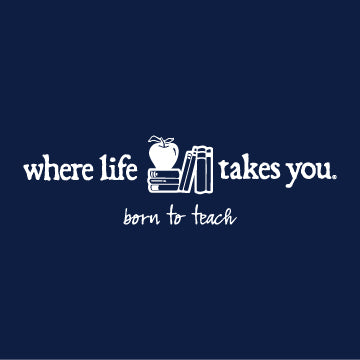 "WLTY Apple and Books ""Born to Teach"" Adult Long Sleeve T-Shirt"