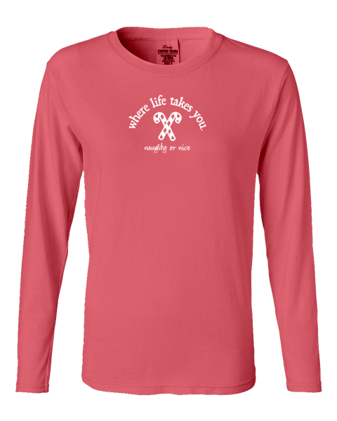 "WLTY Candy Canes ""Naughty or Nice"" Ladies Long Sleeve"