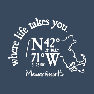 "WLTY Coordinates ""Massachusetts"" Adult Hooded Long Sleeve"