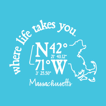 "WLTY Coordinates ""Massachusetts"" Ladies V-Neck T-Shirt"