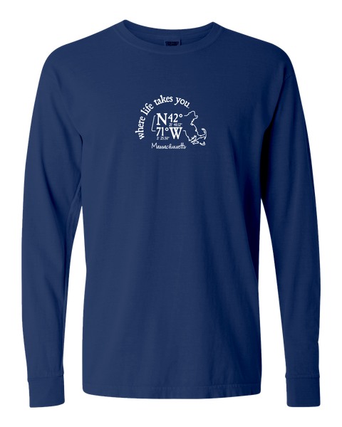 "WLTY Coordinates ""Massachusetts"" Adult Long Sleeve T-Shirt"