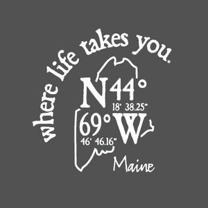"WLTY Coordinates ""Maine"" Adult Hooded Long Sleeve"