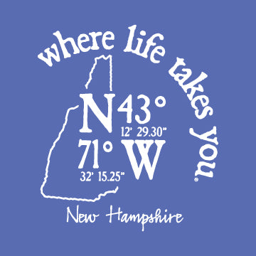 "WLTY Coordinates ""New Hampshire"" Adult Crew Neck Sweatshirt"