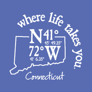 "WLTY Coordinates ""Connecticut"" Ladies V-Neck T-Shirt"