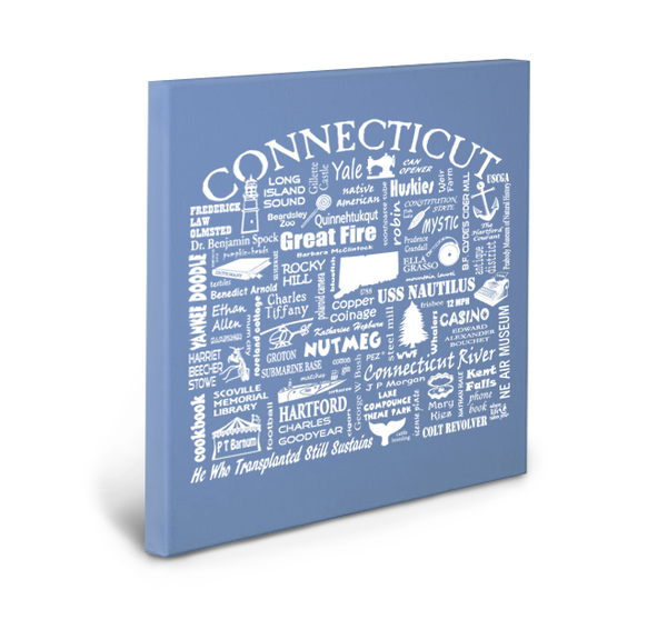 Connecticut Location Gallery Wrapped Canvas (Flo Blue)