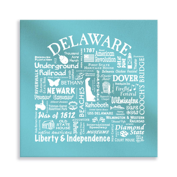 Delaware Location Gallery Wrapped Canvas (Lagoon)