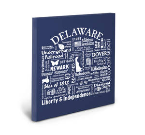 Delaware Location (Navy) Gallery Wrapped Canvas
