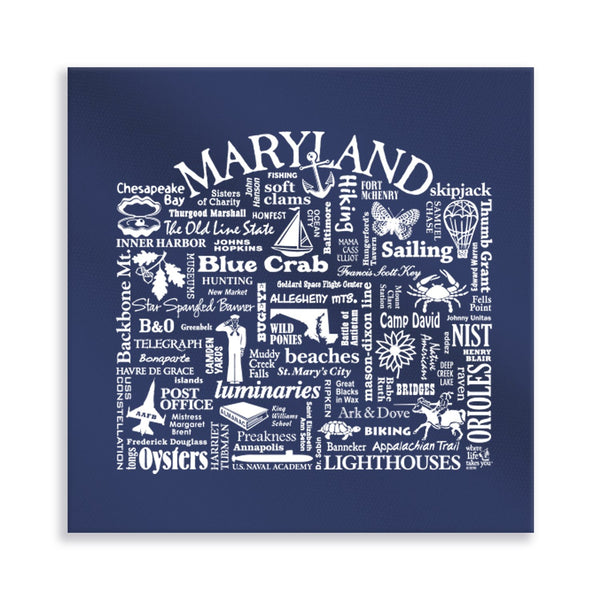Maryland Location (Navy) Gallery Wrapped Canvas