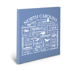 North Carolina Location (Flo Blue) Gallery Wrapped Canvas