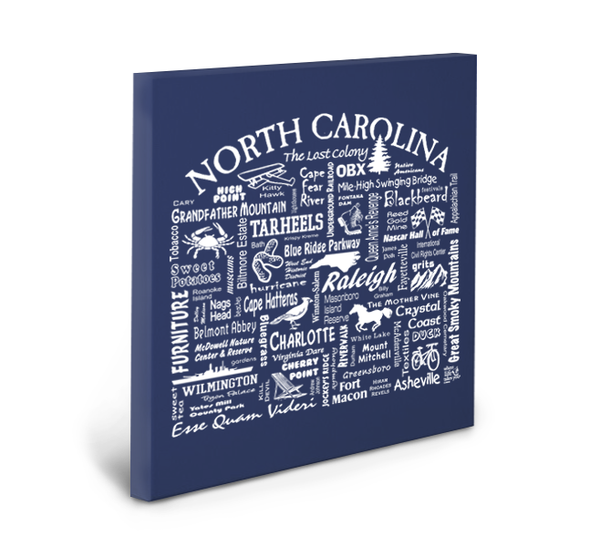 North Carolina Location (Navy) Gallery Wrapped Canvas