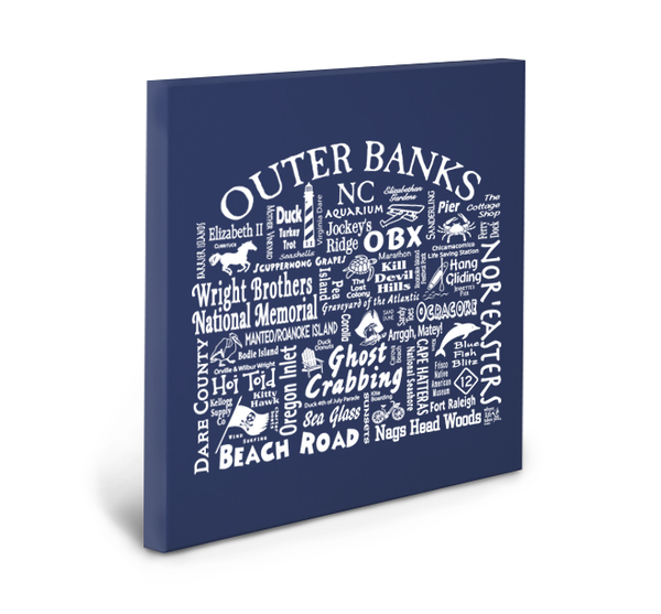 Outer Banks Location (Navy) Gallery Wrapped Canvas