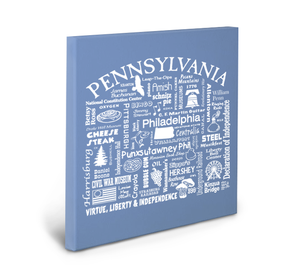 Pennsylvania Location (Flo Blue) Gallery Wrapped Canvas