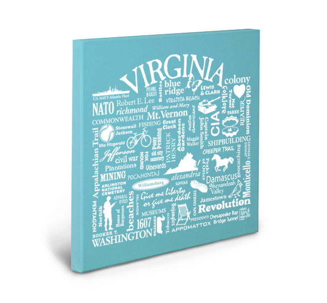 Virginia Location (Lagoon) Gallery Wrapped Canvas