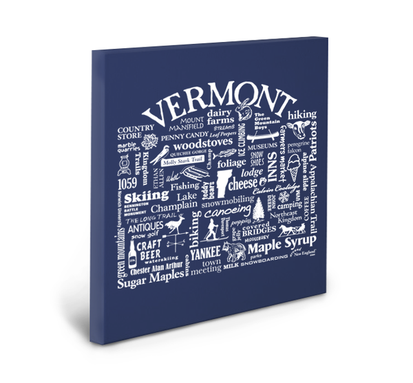 Vermont Location (Navy) Gallery Wrapped Canvas