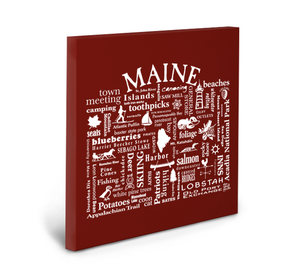 Maine Location (Brick) Gallery Wrapped Canvas