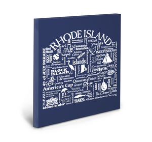 Rhode Island Location (Navy) Gallery Wrapped Canvas