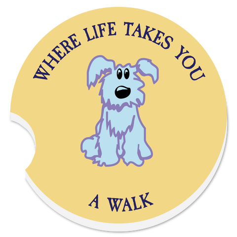 "WLTY Dog ""A Walk"" Car Coaster"