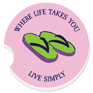 "WLTY Flip Flops ""Live Simply"" Car Coaster"