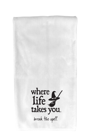 "WLTY Witch ""Break the Spell"" Flour Sack Kitchen Towel"