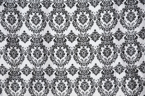0126 WHITE - DAMASK FLOCKING TAFFETA Fabric