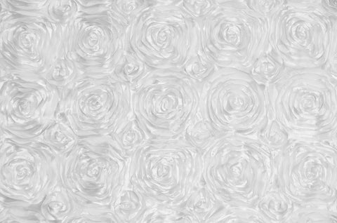 White Rosette Satin Fabric