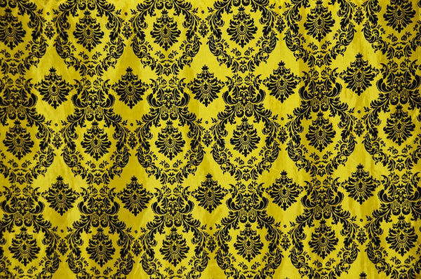 0426 YELLOW - DAMASK FLOCKING TAFFETA