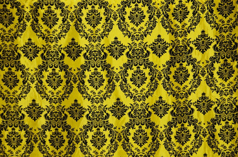 Yellow Damask Flocking Taffeta Fabric