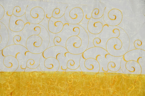 Yellow Swirl Organza Fabric