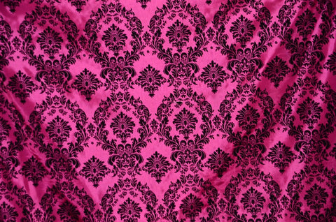 Fuchsia Damask Flocking Polyester Taffeta Fabric