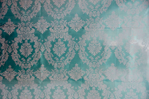 0927 AQUA - DAMASK FLOCKING TAFFETA