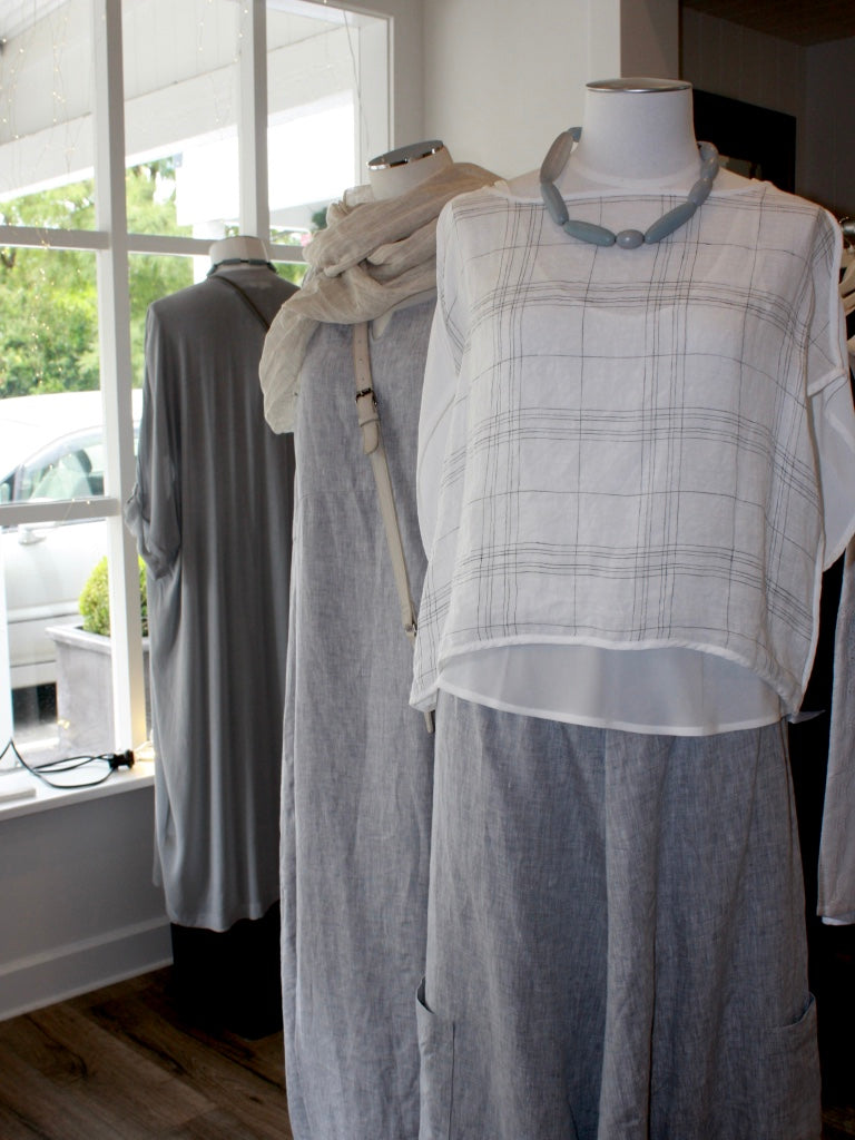 3 mannequins at Hall Greytown store, in natural NZ made cool linen cloothing