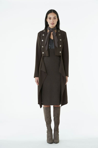 Obi Military ponte coat in Walnut, available at Hall fashion boutique Greytown