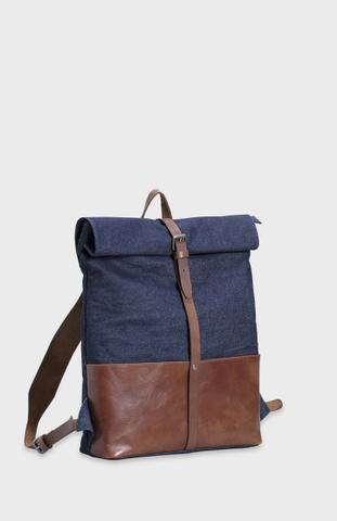 Elk leather denim backpack