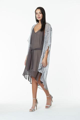 Obi Silk Feather Print kimono long line black and white shop online Greytown at Hall New Zealand