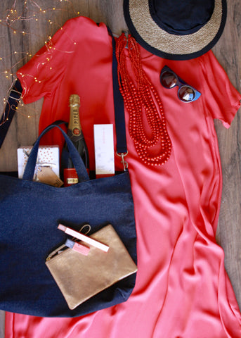hall garrick dress coral with denim tote elk accessories