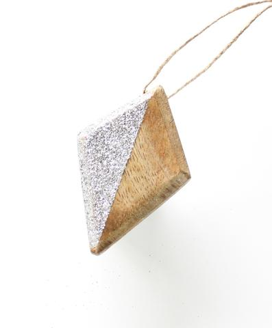 silver glitter and wood christmas decoration