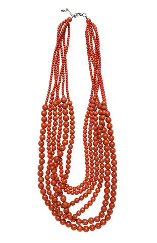 elk orange bead necklace