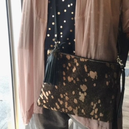 Mooi Jem black and rosegold bag available at Hall Greytown