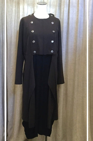 Obi military ponte coat and Hall habit drape dress
