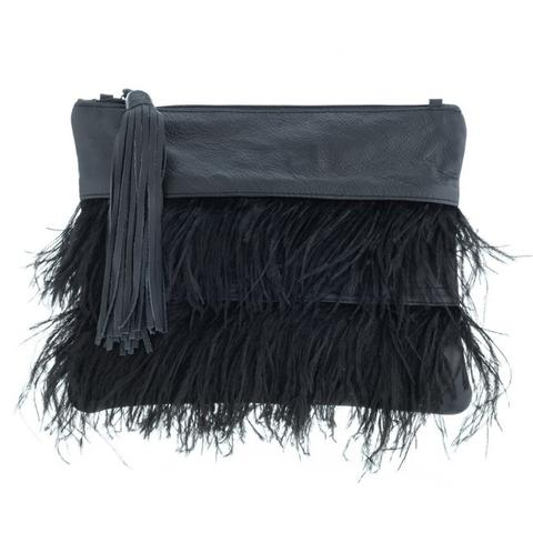 Feather and leather clutch handbag shop online Hall Greytown New Zealand
