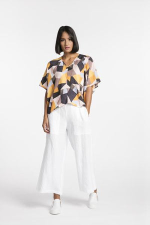 STYLEXLAB BLurred Wide Leg Pant 159 White