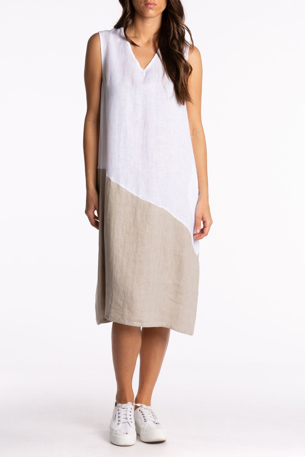 Ridley Sleeveless Dress White/Beige