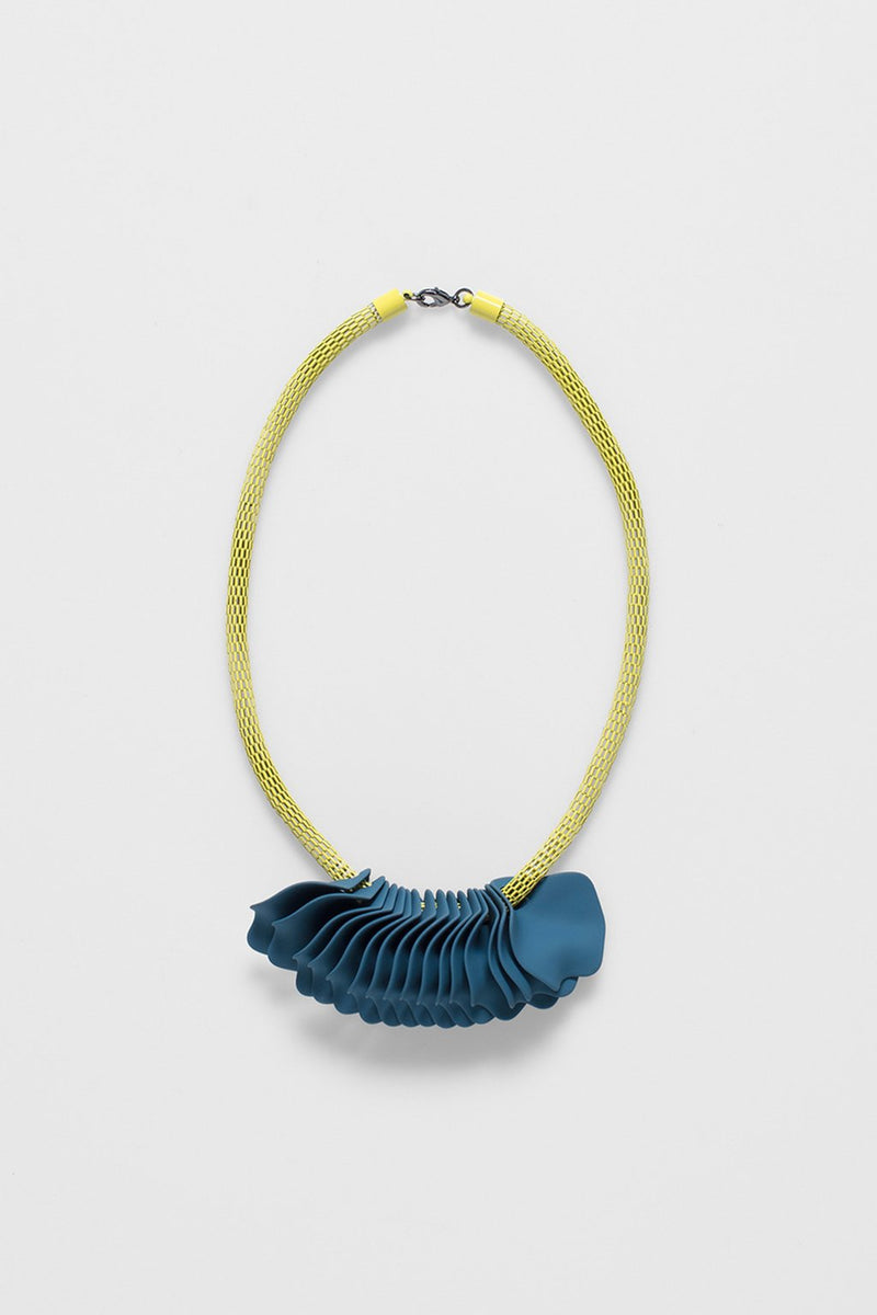 Elk Petal Necklace N2466 Lemon/Teal Blue