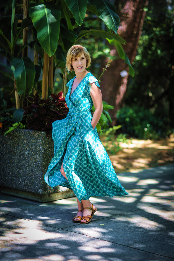 Jessica Long Wrap Dress in Teal - last one S!