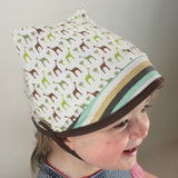 Cotton Kitty Baby Hat in Green Giraffe/Aqua Stripe
